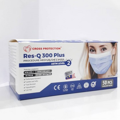 CROSS PROTECTION RES-Q 300PLUS ASTM LEVEL 2 3PLY MEDICAL FACE MASK (ADULT)